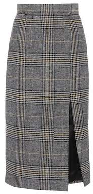 ALEXACHUNG Plaid wool-blend skirt