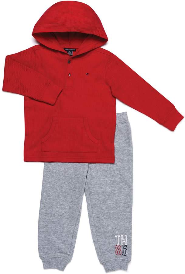 Tommy Hilfiger 2-Piece Thermal Henley Shirt and Pant Set in Red/Grey
