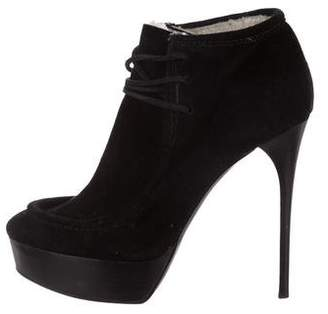 Burberry Suede Platform Ankle Boots