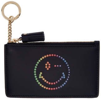 Anya Hindmarch Navy Rainbow Wink Card and Key Holder