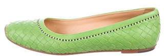 Bottega Veneta Intrecciato Leather Square-Toe Flats