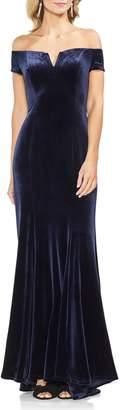 Vince Camuto Velvet Notched-neckline Gown