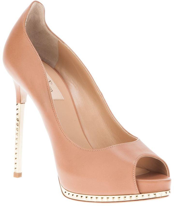 Valentino Garavani metallic heel peep toe pump