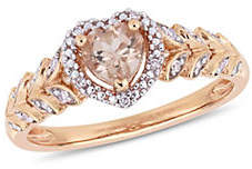 CONCERTO 10K Rose Gold and Morganite Halo Heart Ring with 0.06 TCW Diamond