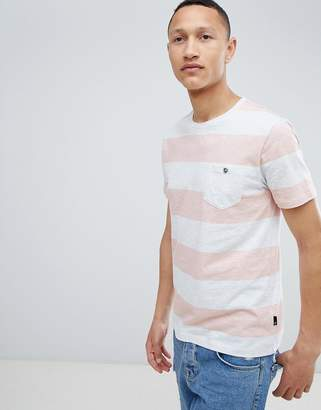 Burton Menswear Striped T-Shirt In Coral And Grey
