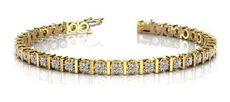 South Beach Diamonds 4.00 ct. Round Diamond Tennis Bracelet in 14 Kt Gold in Milgrained Prong Setting