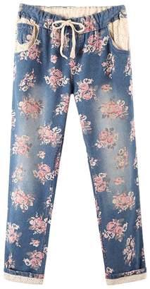d33e4610fc3 Mofgr Plus Size Harem Pants Women s Casual Denim Cotton Lace Floral Print  Jeans