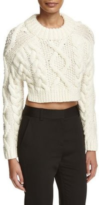 DKNY Cropped Wool Open-Back Sweater, Chalk $498 thestylecure.com