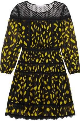 Diane von Furstenberg Swiss-Dot And Lace-Paneled Printed Silk Mini Dress