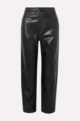 Totême Novara Leather Straight-leg Pants - Black