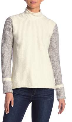 Kensie Colorblock Turtleneck Knit Sweater