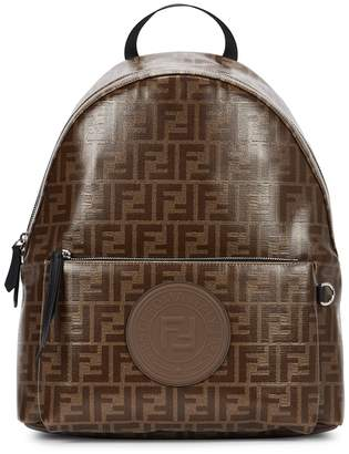 7c2b262bbc38 Fendi Monogrammed Coated Canvas Backpack