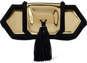 Balmain Killari Suede-Trimmed Tasseled Mirrored-Leather Clutch