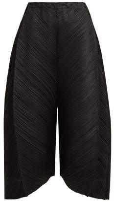 Pleats Please Issey Miyake Pleated Wide Leg Trousers - Womens - Black