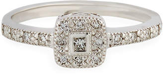 Alor 18k White Gold Pave Diamond Square Ring Size 6.5