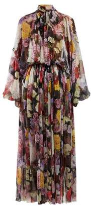 Dolce & Gabbana Floral Print Gathered Georgette Gown - Womens - Black Multi