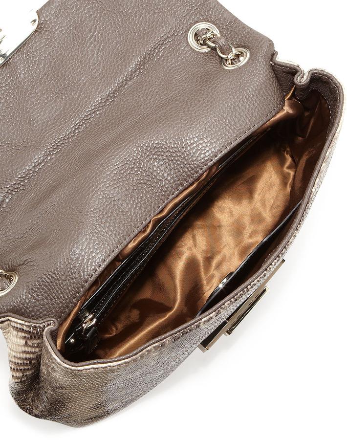 Moschino Small Snake-Print Shoulder Bag, Natural