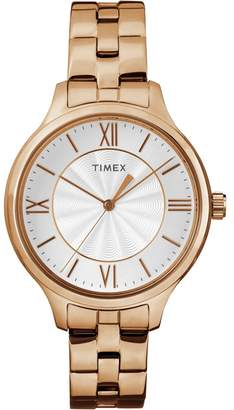 Timex Ladies Style White Dial With Rose Gold Stainless Steel Bracelet Watch