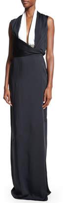 Victoria Beckham Sleeveless Two-Tone Gown, Black/White
