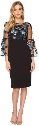 Adrianna Papell Stretch Crepe Embroidered Cocktail Dress with Bell Sleeve Detail Women's Dress