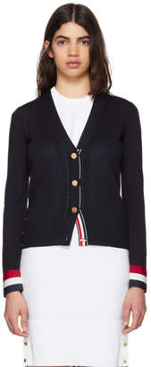 Thom Browne Navy Grosgrain Cuff V-Neck Cardigan