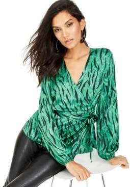 INC International Concepts Inc Petite Zebra-Print Wrap Top, Created For Macy's