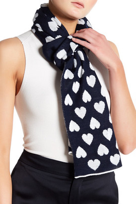 MOSCHINO Wool Blend Colorblock Heart Scarf $168 thestylecure.com