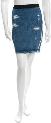 Sandro Distressed Denim Skirt $65 thestylecure.com
