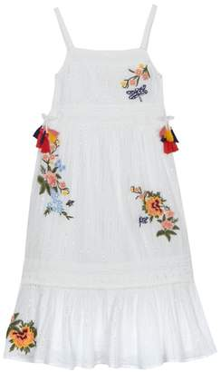 Mantaray 'Girls' White Floral Embroidered Maxi Dress