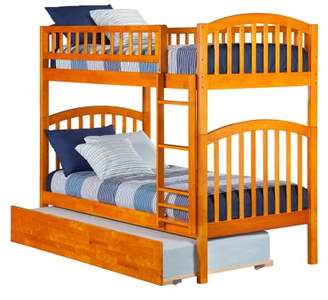 Atlantic Richland Bunk Bed Twin over Twin with Twin Size Urban Trundle Bed in Caramel