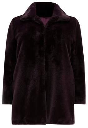 Evans Purple Faux Fur Coat
