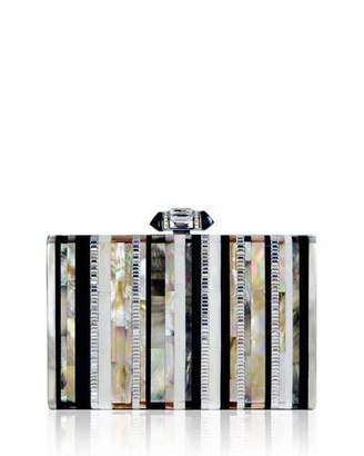 Judith Leiber Couture Tall Slender Shell Stripes Clutch Bag, Silver