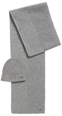 BOSS Hugo Ribbed beanie & scarf set in pure cashmere One Size Silver