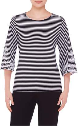 TanJay Tan Jay Embroidered Bell Sleeve Stripe Top