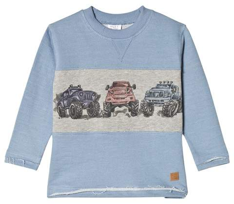 Hust&Claire Blue Truck Print Sweatshirt