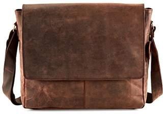 Buffalo David Bitton TOL 15 Inch genuine leather messenger bag in vintage style leather Satchel School Women Handbag Colled Crossbody Bag