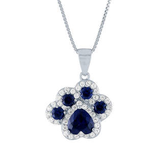 FINE JEWELRY Womens Lab Created Blue Sapphire Sterling Silver Paw Print Pendant Necklace