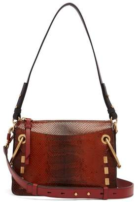Chloé Roy Small Snake Effect Leather Shoulder Bag - Womens - Dark Brown