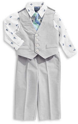 Nautica Oxford Vest, Cotton Collared Shirt and Trousers Set