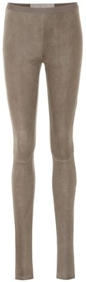 Rick Owens Cotton-blend suede leggings