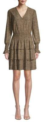 MICHAEL Michael Kors Cheetah Tiered Ruffle Blouson Dress