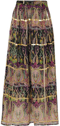 Etro Metallic Printed Silk-blend Jacquard Maxi Skirt - Black