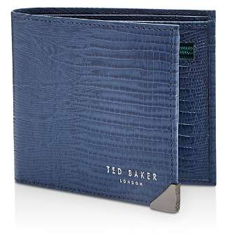 Ted Baker Siszip Lizard-Embossed Leather Bifold Wallet with Zip Coin Pocket