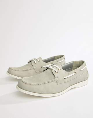 New Look Faux Suede Boat Shoes In Light Gray