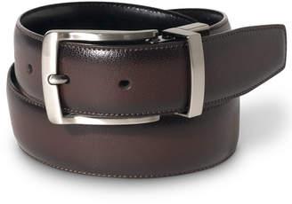 Perry Ellis Portfolio Men Leather Burnished Edge Big and Tall Reversible Belt