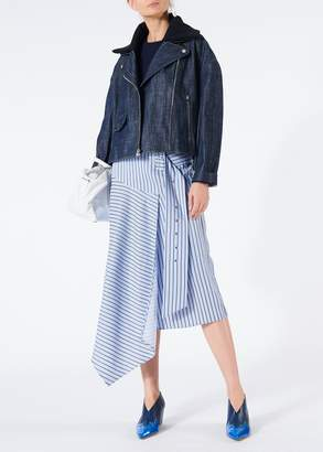 Tibi Raw Denim Oversized Cropped Moto Jacket with Removable Collar
