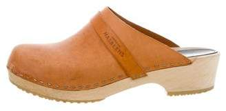 Swedish Hasbeens Lather Round-Toe Clogs