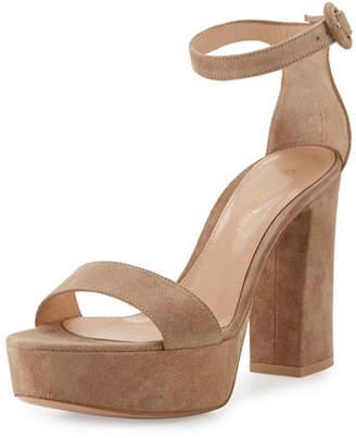 Gianvito Rossi Coco Suede Platform Ankle-Wrap Sandal