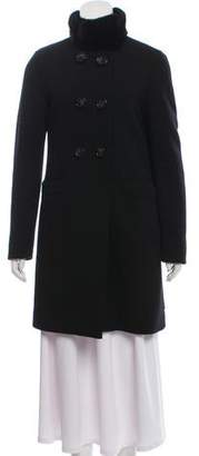 Moncler Fur-Trimmed Wool Coat