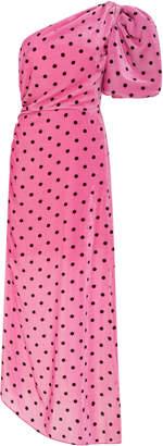 Vivetta Monet One-Shoulder Polka-Dot Satin Midi Dress